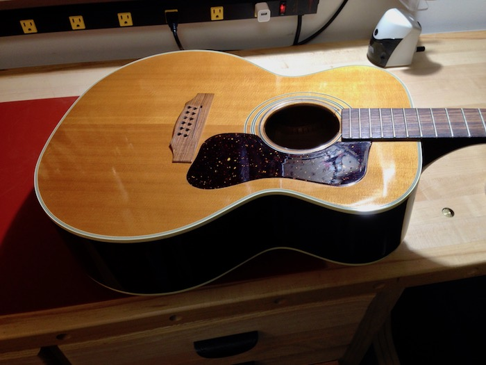 1975 Guild F-212 on the bench